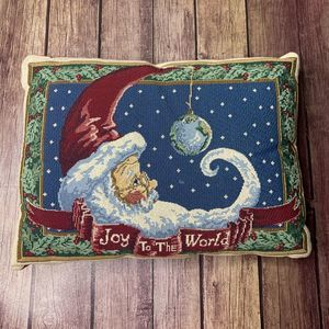Other - Joy to the World Christmas Santa Tapestry Pillow